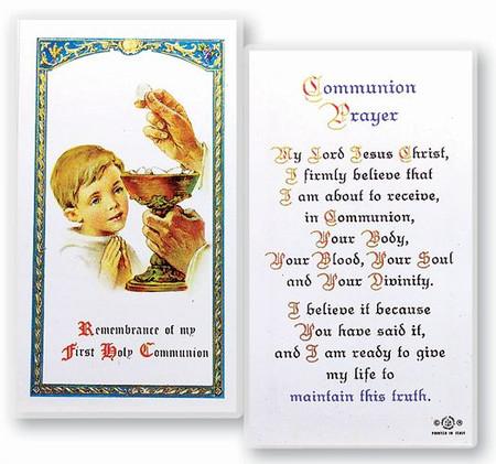 Communion Boy Popular Prayer Laminated Holy Card (E24-670)