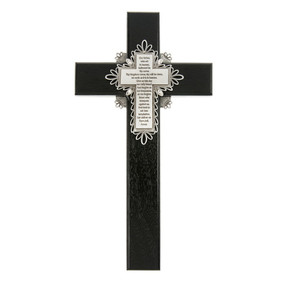 "10"" Our Father Prayer Cross - Black"