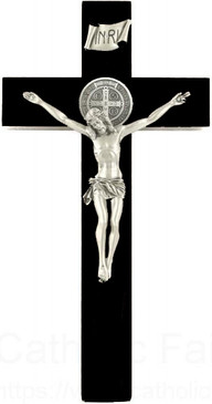"12"" Black Walnut St. Benedict Crucifix"