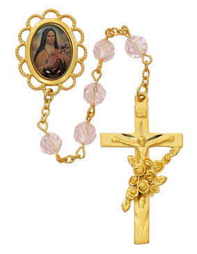 7mm Gold Rose Therese Rosary