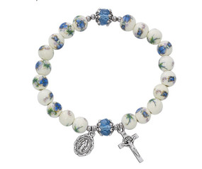 Blue and White Ceramic Stretch Bracelet