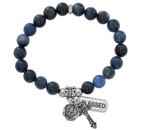 Blue Stretch Rosary Bracelet