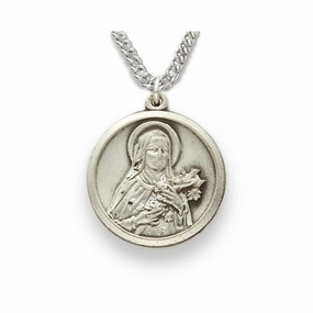 St. Theresa, Patron of Aviators, Missions, Sterling Silver Engraved Medal