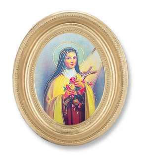 St. Therese Gold Oval Frame