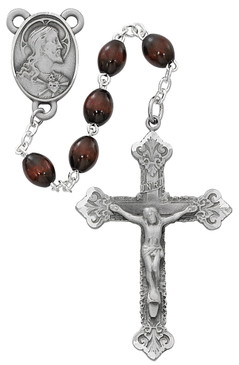 Brown Wood Pewter Rosary