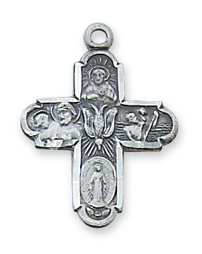 ANTIQUE SILVER 4WAY CROSS