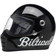 "BILTWELL Lane Splitter Helmet - Gloss Black ""BILTWELL"" writing"