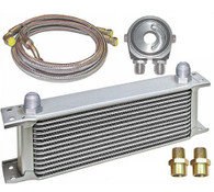 TLG 13 ROW Engine Oil Cooler - Silver with Adaptor and Hoses