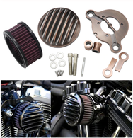 TLG Ribbed Air Cleaner Kit for Harley Sportster XL 2004-2020 / 883 & 1200cc - BLACK
