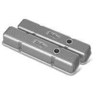 HOLLEY Chevrolet Small-Block Finned Valve Covers Raw Finish w/Emissions Port