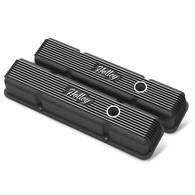 HOLLEY Chevrolet Small-Block Finned Valve Covers Black Finish w/Emissions Port