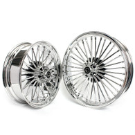 "TLG Harley Fat 36 Spoke Chrome 21x3.5"" & 18x5.5"" Wheel Set - Twin Disc Front"
