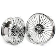 "TLG Harley Fat 36 Spoke Chrome 21x3.5"" & 18x5.5"" Wheel Set - Single Disc Front"