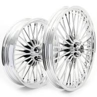 "TLG Harley Fat 36 Spoke Chrome 21x2.15"" & 18x3.5"" Wheel Set - Single Disc Front"