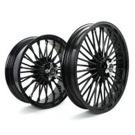 "TLG Harley Fat 36 Spoke Black 21x3.5"" & 18x5.5"" Wheel Set - Twin Disc Front"