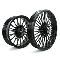 "TLG Harley Fat 36 Spoke Black 21x3.5"" & 18x5.5"" Wheel Set - Single Disc Front"