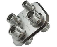 PROFLOW A/C 4 Port Square Bulkhead Adaptor - 1 Small, 3 Large