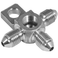 PROFLOW Male AN Tee w/Mount Tab & NPT Port Stainless Steel