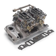 EDELBROCK SBC Dual Quad Air-Gap 500CFM Carburettors & Manifold Combo Kit