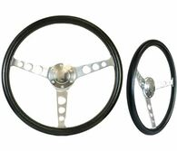 "SAAS Classic Steering Wheel - 50mm Dish 15"" Polished Aluminium w/Holes"