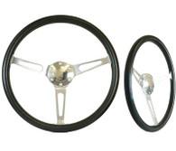"SAAS Classic Steering Wheel - 50mm Dish 15"" Polished Aluminium w/Slots"