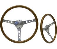 "SAAS Classic Wood Steering Wheel - 50mm Dish 15"" Brushed Aluminium w/Holes"