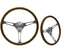 "SAAS Classic Wood Steering Wheel - 50mm Dish 15"" Brushed Aluminium w/Slots"