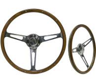 "SAAS Classic Wood Steering Wheel - 50mm Dish 15"" Polished Aluminium w/Slots & Rivets"