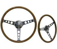 "SAAS Classic Wood Steering Wheel - 50mm Dish 15"" Polished Aluminium w/Holes & Rivets"