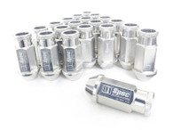 D1 SPEC Aluminium Wheel nut set (20pcs) - 48mm Long - SILVER M12 x 1.5