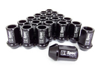 D1 SPEC Aluminium Wheel nut set (20pcs) - 36mm Long - BLACK M12 x 1.25