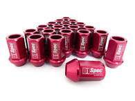 D1 SPEC Aluminium Wheel nut set (20pcs) - 36mm Long - RED M12 x 1.25