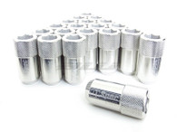 D1 SPEC Aluminium Hex Wheel nut set (20pcs) - 51mm Long - SILVER M12 x 1.5