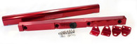 AEROFLOW Billet EFI Fuel Rails - Suit GM LS1 - RED