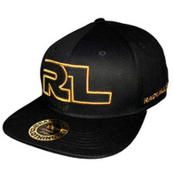RADIAL LIFE Flat Brim Snap-Back Cap - Black with Gold