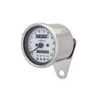 TLG Cafe Racer Mini Speedometer - Chrome w/ White face
