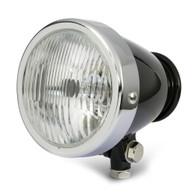 """TLG 4.5"""" Vintage Style Headlight - BLACK/CHROME"""