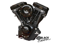"S&S Black & Black Evo 124"" Engine w/Super G & Super Stock Ignition Black Covers"