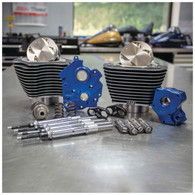 S&S Power Package for 107ci-124ci M8'17up Oil Cooled w/Black Highlighted Fins & Chrome Pushrod Tubes