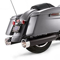 "S&S MK45 17-up Touring 4 1/2"" Slip-On Mufflers Black with Chrome Tracer End Cap"