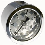 MOON Engine-Turned Oil/Fuel Pressure Gauge 0-15 lbs
