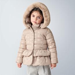 Mayoral    Hooded Polka Dot Coat w/Faux Fur Trim - Beige