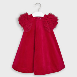 Mayoral    Velvet A-Line Dress w/Tulle Sleeves - Carmine Red