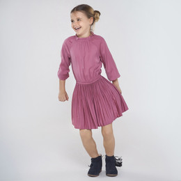 Mayoral    Sateen Dress w/Pleated Skirt - Rose