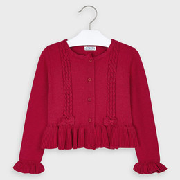 Mayoral    Cardigan Sweater w/Bow Accents - Carmine Red