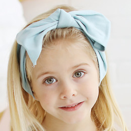 Lemon Loves Lime   Bow Headband - Sterling Blue