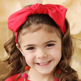 Lemon Loves Lime   Bow Headband - True Red