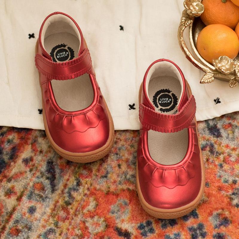 Livie \u0026 Luca Ruche Shoes - Red Metallic