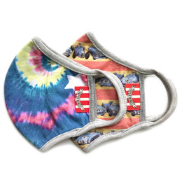 Paper Wings              Double Layer Organic Cotton Jersey Face Masks - 2 Pack! - Tie Dye & Racecar Stripe - Kids (2-7 Years)