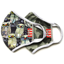 Paper Wings Double Layer Organic Cotton Jersey Face Masks - 2 Pack! - Owls & Green Camo - Tweens/Adults (8 years & up)